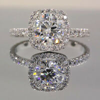 2.50 Ct Round Cut Diamond Halo Engagement Wedding Ring 14K White Gold Over 925