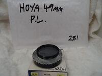 HOYA 49MM Threaded PL POLARIZING FILTER with Hoya case.
