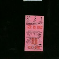 9-19-1962 Chicago Cubs @ Philadelphia Phillies Ticket - Only 6 Innings for Rain