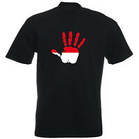 Indonesien - T-Shirt - Handabdruck - Palm Hand Print - Herren - Flag - Indonesia