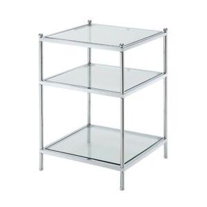 Convenience Concepts Royal Crest End Table, Chrome/Glass - 134045