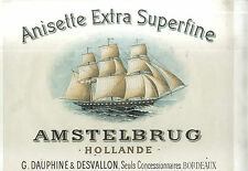 AFFICHE ANCIENNE ANISETTE AMSTELBRUG HOLLANDE DAUPHINE DESVALLON BORDEAUX