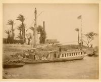 Sébah. Egypte, Dahabieh Vintage albumen print.  Tirage albuminé  21x27  Ci