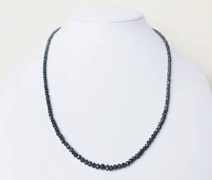 "4.5 - 5mm Black Diamond Bead Beautiful Sparkling Necklace 20 ""IN IGL Certified."