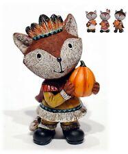 "Resin Fox Pilgrim Indian Figure Set/4 Thanksgiving Harvest Fall Home Decor 5"""