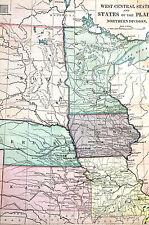 Antique Map of West Central States - Nd Sd Mn Io Ne Ks Mi - 1883 Exc. Cond.