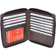 Brown RFID Blocking Men's Bifold ID Credit Leather Wallet Zip HIpster 12+ Card