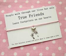 True Friends Footprints Heart Charm Wish Friendship Bracelet Gift ~ Pink