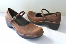 ECCO Gorgeous Brown Leather Tooled Design Braided Mary Jane Pumps Shoes 38 $170