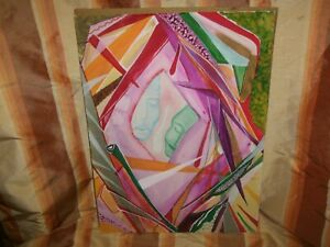 20TH CENTURY WATERCOLOUR ON PAPER, ABSTRACT ART SHOWING TWO FACES