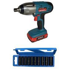"24v 1/2"" Drive Li-on Cordless Battery Impact Wrench & 10 Deep Impact Sockets"