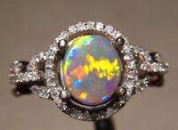 Australian Opal  Diamond Ring 14k White Gold  Brilliant Harlequin Pattern
