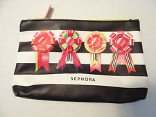 Sephora Black-white Striped Holiday Ribbons Make Up / cosmetics Bag -  New