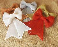 Christmas Tree Decoration Glitter Glitzy Sparkling Ribbon Bow Various Colours
