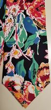 JOHN HENRY Black Cotton Floral Necktie Tie USA