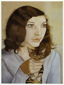 Girl with a Kitten Lucian Freud print in 11 x 14 inch mount ready to frame