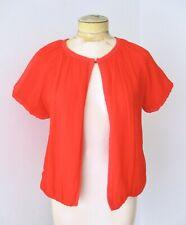 VGC J Crew Coral Red Orange Silk Chiffon Clare Cardigan Sweater Wool Cashmere M