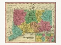 Old Antique Decorative Map of Connecticut Tanner ca. 1836