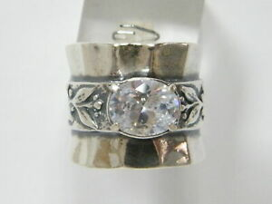 NEW Hand Crafted 925 Sterling Silver SHABLOOL Ring White White CZ Cocktail Style