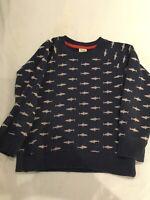 Boys Age 5-6 years Frugi Designer organic Navy shark patten jumper sweatshirt