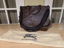 Burberry Ebony Dark Brown Designer Tote Messenger Saddle Bag