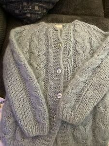 Hand Knit Sweater in Italy Wool Mohair Cardigan Light Blue Colebrook Vintage
