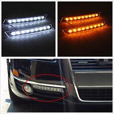 2 Pcs Super Bright Amber & White 9LED Car Truck DRL Signal Light Indicator Strip
