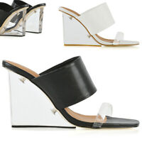 Womens Wedge Heeled Mules Ladies Cler Perspex Toe Strap Sandals Shoes Size