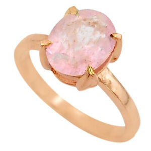 BIGGEST SALE 4.00cts Micron 14k Rose Gold Faceted Morganite Ring Size 7 T43619