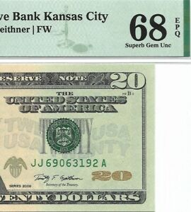 2009 $20 KANSAS CITY FRN, PMG SUPERB GEM UNCIRCULATED 68 EPQ BANKNOTE