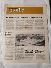 Massey Ferguson Mf Jan. 1976 Profile Newspaper Sales Hit 2.5 Bill. Snowmobiles