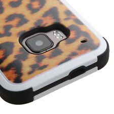 For HTC ONE M9 - HARD&SOFT RUBBER HYBRID ARMOR CASE COVER BROWN LEOPARD CHEETAH
