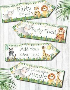 Set of 4 Personalised Jungle Safari Party Decoration Arrows