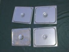 Lot Of (4) 1/2 Size Stainless Steel Solid Lids / Covers Good Condition Nsf