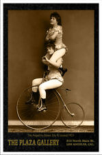 ANGELINO SISTERS Acrobats Circus Sideshow Vintage Photograph Cabinet Card CDV RP