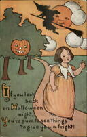 Halloween SCARCE TUCK #816 Little Girl & Witch Man in the Moon c1910 Postcard