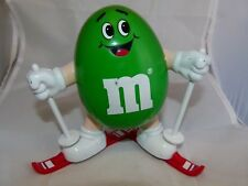M&M Green Skier 1991 Candy Dispenser with Red Skis nice shape Working