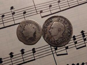 HAITI 12 + 25 centimes AN14 1817 KM14+15.2 Ag 1-year types A.Petion SCARCE PAIR!