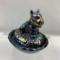 Boyd Art Glass Scottie Dog Salt Dip - Carnival Medley (Lot 813)
