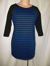Michael Kors Size 14 Round Neck Stripe 3/4 Sleeve Zipper Accent Dress Blue Black