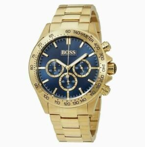 NEW HUGO BOSS MENS HB 1513340 BLUE DIAL GOLD TONE WATCH  NEXT DAY DELIVERY