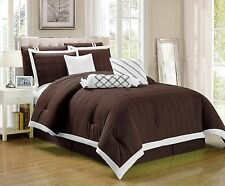 9 pc Chocolate Brown Pleated Microfiber Comforter Set Full Queen King Cal-King