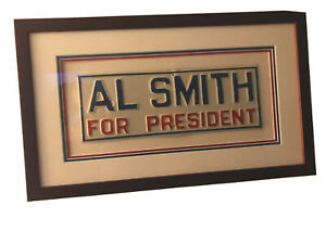 """Al Smith For President-1928 Presidential License Plate-Red/Blue Embossed-12""""x4"""""""