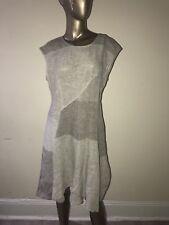 NWT $395 Ivan Grundahl Gray Linen Ator Dress 40 4