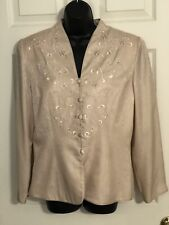 Adrianna Pappel- Blush Pink- Silk- Oriental- Embroidered- Evening Jacket- Sz 14