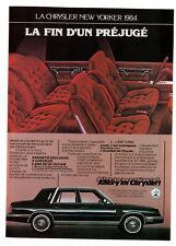 1984 CHRYSLER New Yorker Vintage Original Print AD - Interior car photo small ca