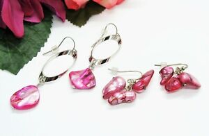 Nice! 2 Pair Silvertone & Pink Mother Of Pearl Shell Beads Pierced Earrings!
