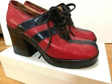 "True Retro 70's-80's Leather Black & Red Women's Disco 3"" Platform Shoes Italy"