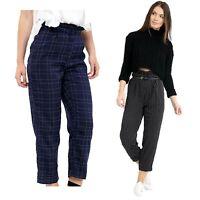 Womens Ladies Paper Bag High Elasticated Waist Slim Leg Tailored Trousers Pants