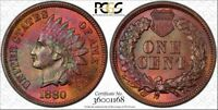1880 1c Indian Head Cent PCGS MS64RB Monster Toning, Awesome Color!!